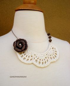 Crochet Bib Necklace with Rose
