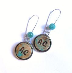 Monogram earrings personalized earrings patina by agatechristina, $21.00