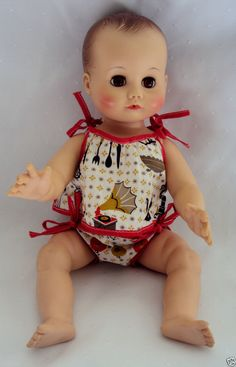 MME ALEXANDER Baby Doll Drink Wet with Crier Amber Brown Eyes Molded Hair 1958..I just found this doll at the flea market for $10.00 SR