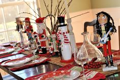 Nutcrackers across table runner