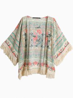 Vintage Floral Tassel Kimono