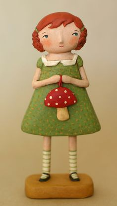 Aubry : hand sculpted, painted and stained paper-clay doll, by Artist Jenene Mortimer - Sacramento, USA