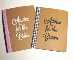 Advice for the Bride And Groom Notebooks on Guest table.