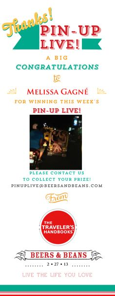 """Congratulations to Melissa Gagne! You have won this week's round of #PinUpLive! Thanks to the generosity of the Traveler's Handbooks you have won a 7"""" Kindle Fire & and complete set of the Traveler's Handbooks to go with it! Please contact us at PinUpLive@BeersandBeans.com so we can get your gift to you! Thanks again for chatting - we look forward to hearing more of your #travel stories next week!"""