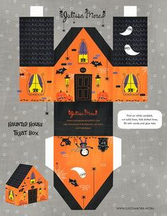 FREE printable Haunted House Treat Box ^^ #paperhouse