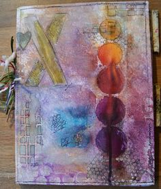 art journal filled with assignments from Roben-Marie's online Mixed Media Meyham class