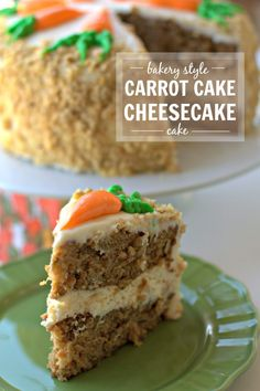 Carrot Cake Cheesecake Cake- 2 layers of Carrot Cake, a layer of cheesecake in the middle all in one glorious cake; the perfect Easter dessert. #carrotcake #easterrecipe #easterdessert