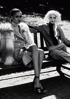 portia okotcha and abi rose by iain mckell for harper's bazaar russia november 2012   fashion editorial   girlfriends   bench   park   sunshine   hanging out   sophisticated  