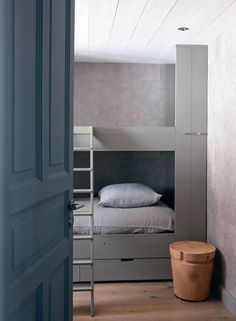 Kids bedroom in blue and grey shades