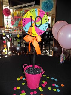 Cool centerpiece at a Dance Party and Rainbow Swirl Birthday Party!  See more party ideas at CatchMyParty!