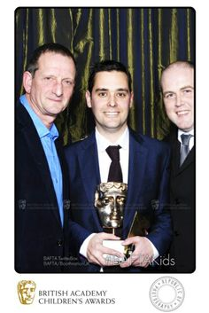 Winners of the Learning Primary BAFTA, Evans Woolfe, Dominic Sant and Tim Duck celebrate in the BAFTA TwitterBox.
