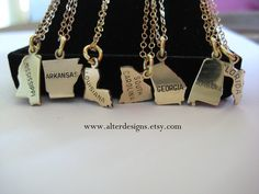 Silver or Gold Personalized State Charm Necklaces Florida Mississippi Louisiana Arkansas Alabama Georgia South Carolina Necklace. $28.00, via Etsy.