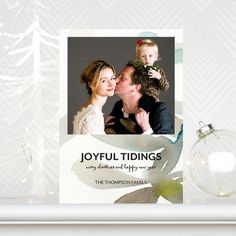 Watercolor makes this 'Serene Leaves' a beautiful and unique #Holiday Photo Card. Greeting is featured in Neptune Blue.
