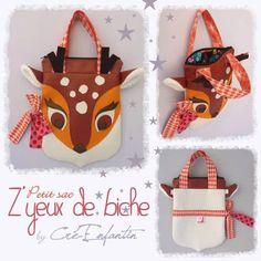 """Petit sac à anses zippé """"Z'Yeux de biche"""". Création inspirée du modèle présenté dans le livre """"Créer pour Noël : Un jeu d'enfant ! (2d édition) - Cré-Enfantin Octobre 2013"""
