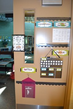 Classroom Organization... I like how this door is set up with the labels, the classroom management chart, and the locations of all the students