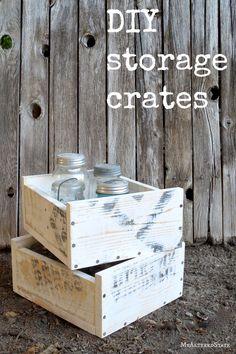 diy storage wood crates stacking