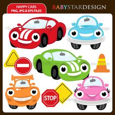 10 graphic elements of happy and smile cars theme. Perfect for your party invitations, craft projects, paper products, stationery, scrapbooking, web designs, stickers and many more!