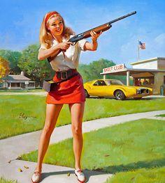 Skeet shooter muscle cars, shotguns, bangs, gil elvgren, gun control, waterfowl hunting, pin up girls, shooting, bang bang