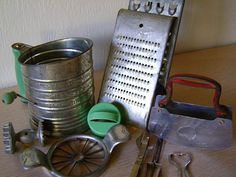 Vintage Metal Sifter, Graters and Openers--Ten Piece Instant Collection of Kitchen Collectibles--Country Kitchen Clutter