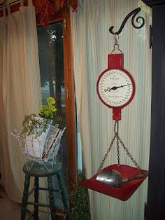 Love old hanging scales...have 1 but it's not red, I need a red one too
