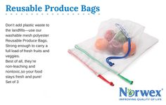 "A must-have for every shopping trip! Don't add plastic waste to the landfills—use our washable mesh polyester Reusable Produce Bags. Takes you from the produce aisle tothe refrigerator drawer. Strong enough to carry a full load of fresh fruits and veggies. Best of all, they're non-leaching and nontoxic,so your food stays fresh and pure! (Set of 3) 30cm x 35cm / 11.8"" x 13.8"" Item #: 354011"