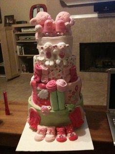 twin shower, diaper cakes, twin diaper