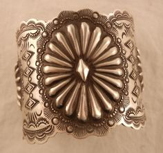 Navajo Vince Platero Hand Stamped Sterling Silver Concho Style Cuff Bracelet