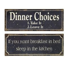 Cute Breakfast & Dinner Signs. :-)