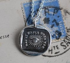 may it watch over you... all seeing eye wax seal necklace charm in recycled fine silver