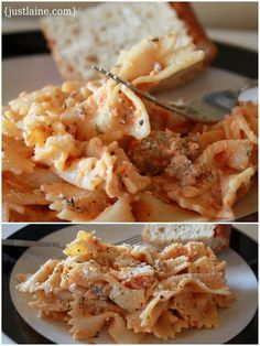 Bowties with Sausage and Tomato Cream Sauce Recipe ~ This delicious Italian pasta dish is simple, quick, and won't break your budget.  It is also an awesome crock-pot meal...perfect for Sunday!