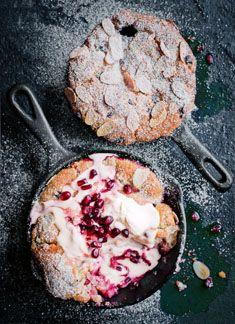 rhubarb, pomegranate and vanilla cobblers