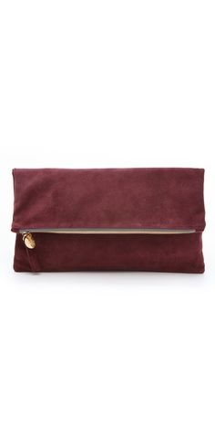 fold over suede clutch / clare vivier