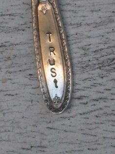 """Vintage Spoon Necklace Stamped """"TRUST"""" www.laughingfrogstudio.etsy.com $18.00"""