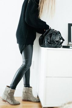 wedge boots, girl fashion, ankle boots, leather boots, outfit, oversized sweaters, leather pants, leather leggings, city style
