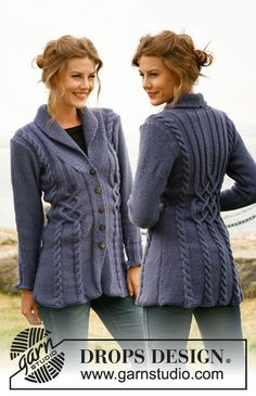 "Knitted DROPS jacket with cables in ""Karisma"". Size: S to XXXL. ~ DROPS Design"