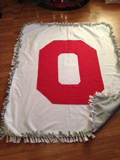 Ohio State tie blanket