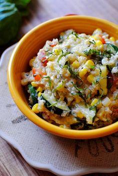 Farmers' Market Skillet: fresh veggies, basil, feta cheese, quinoa, and a lemon vinaigrette.