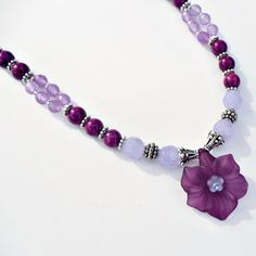 Precious Violet flower necklace by SashaGirls on Etsy, $39.50
