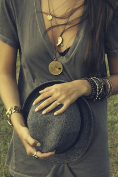 Long layered necklaces in yellow