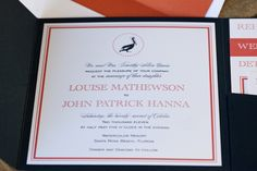 pocket pelican beach wedding invite in navy and coral