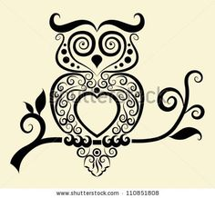 Decorative owl. Bird with floral ornament decoration. Use for tattoo or any design you want by ComicVector703, via ShutterStock  Make an awesome quilt for my daughter.