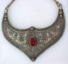 ethnic silver necklace choker hasli belly dance jewelry carnelian gemstone