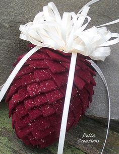 Pierced Ribbon Pinecone Ornament - Burgundy Sparkle Velour