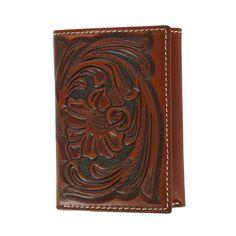 Nocona Men's Floral Handtooled Tri-Fold Wallet