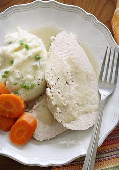 Crock Pot Turkey Breast with Gravy - An easy recipe for turkey breast and gravy, all in the slow cooker. #crockpot #weightwatchers #Easter