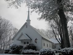 Fairview United Methodist Church + First Snow I decided to stop for a few minutes to take another photo of this neat little country church this morning on the way to work. The snow has already melted off of the roof of the sanctuary (looks like somebody has an energy efficiency issue!) but it still looks pretty neat.  This photo was taken on December 5, 2009 using a Canon PowerShot S3 IS.