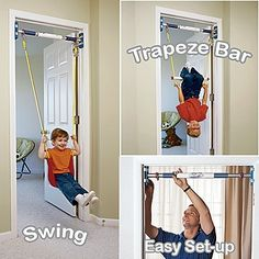 Rainy Day Kids Indoor Swing  Doorway Trapeze Bar Kit..huh we have a pull up bar that flips down to make a trapeze bar... never thought about putting a swing on it, though.  score.  need to get baby swing too :)
