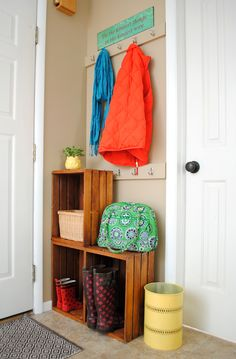 """Blogger Spotlight: Jenna Burger, SAS Interiors: When I was in need of more storage in my small entryway, I decided to take advantage of the 30"""" wide wall behind the front door to create more space for coats and our everyday wears. With a few simple steps, I created the perfect drop space for our family.  It's amazing what you can do with a small section of wall! – Jenna Burger"""