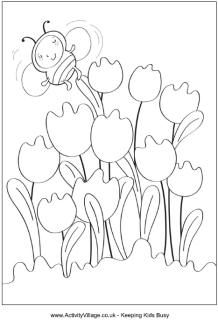 Spring colouring page, tulips colouring page