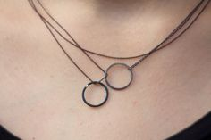 Two circles necklace oxidized sterling silver and blue by Filoe, $55.00